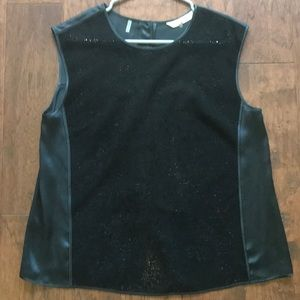 Rebecca Taylor Black Silk and Suede Top size 3